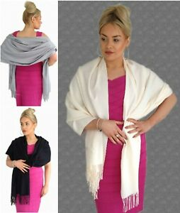 Beautiful WEDDING CASHMERE Blend Pashmina Shawl Scarf for Races / Prom / Evening