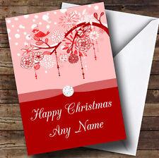 Rosso Natale Bird personalizzata cartolina di natale