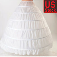 6 Hoop White Wedding Ball Gown Crinoline Bridal Dress Petticoat Skirt Underskirt