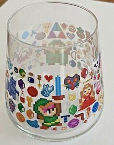 "The Legend of Zelda 8-Bit Pixel Art Clear Drinking Glass Barware 14 oz 3.5"" H"