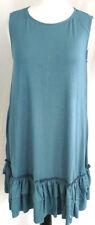 Womens Tunic Dress Plus Size 2X 22 24 Soft Jersey Knit Slate Blue Ruffle Stretch
