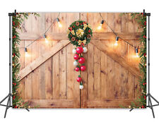 Winter Christmas Backdrop Rustic Wooden Board Xmas Tree Photography Background