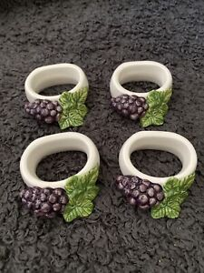 Boots THE ORCHARD Set Of 4 Grapes Design Ceramic Napkin Rings