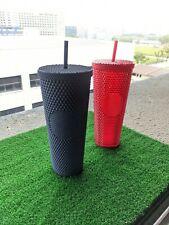 💥 Singapore Starbucks Navy Blue & Bling Red Studded Tumbler Venti 24oz PAIR💥