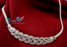 18k gold GF twist women solid fancy necklace Made with Swarovski  #BO03