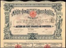 Soc. Miniere et Coloniale de l'Ouest Africain, Henry Mollet, 100 francs, 1908