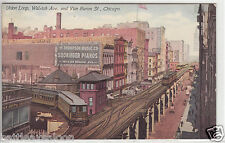 Lithograph - Chicago - Union Loop on Wabash Ave. - early 1900s