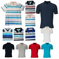 Men's Polo Shirt Crew Neck Plain T Shirt Short Sleeve Stripe Summer Top S-2XL