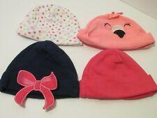 Lot of 4 hats Gerber Carter 0-6 MO Girl blue pink white bows flamingo (9-128-22
