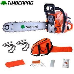 TIMBERPRO Tronçonneuse 62 cm3  guide 45 cm. 3,6 cv 2 chaines + housse transport