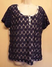 Per Una UK16 EU44 US12 navy and white striped top with front blue lace outer