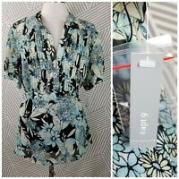 New Apt. 9 Plus Size 1X 16/18 Sheer Pleated Floral Print Button Down Shirt lined