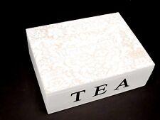 Shabby Chic Style White Wooden Tea Box Storage Flowery Pattern Xmas gift