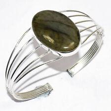 Shiny Labradorite Gemstone 925 Silver Jewelry Adjustable Cuff