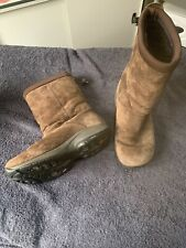 Sz 8 Sz 39.5 Merrell Brown Suede Fur Lined Boots Round Toe Comfort