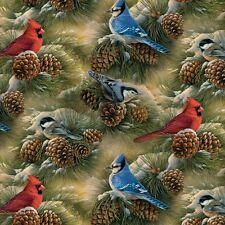 Birds and Pinecones Polar Fleece Fabric by David Textiles by the yard