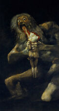 """Saturn Devouring His Son by Francisco Goya, Hand Painted Reproduction, 20"""" x 38"""""""