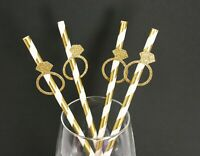 "Glitter GOLD RING Design 7.75"" STRIPED Paper Straws Choose Color & Pack Amount"