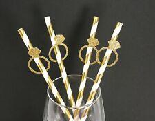 "Glitter GOLD RING Design 7.75"" STRIPED Paper Straws Choose Color & Pack Amount"