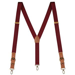 "Buyless Fashion Leather Suspenders Men - 48"" Elastic Adjustable 1"" - Y Back"