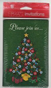 8 Vintage Christmas Invitations Holiday Tree Dark Green Ziggy American Gr Party