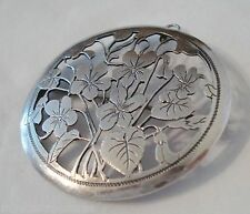 "Sterling Brooch 2"" Hand Crafted Violets Germany Arts & Crafts DRGM Pendant"
