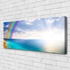 Leinwand-Bilder Wandbild Canvas Kunstdruck 125x50 Regenbogen Meer Landschaft
