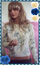 RARE Karen Scott  Ivory Blue Floral Vintage 80's Sweater Lambswool Angora Blend