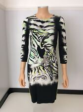 Just Cavalli Tiger Face Dress Size 40 Uk 10-12 Tiger Face  Body Con Stretch Vgc