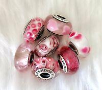 7  Pandora silver Murano Glass Look pink Hearts love Flower Beads Charm #4