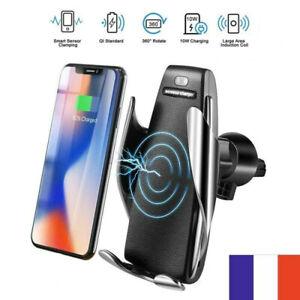 Support téléphone chargeur voiture sans fil à induction serrage automatique 10W
