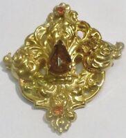 broche bijou vintage métal repoussé couleur or déco pierre poire solitaire *4764