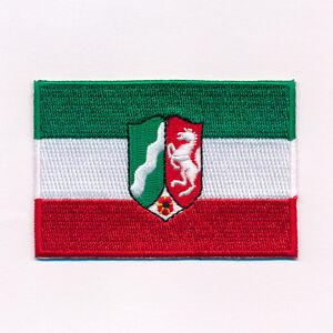 60 x 35 mm NRW Düsseldorf Wappen Flagge BRD Patch Aufnäher Aufbügler 0632 B