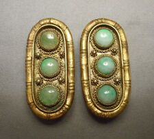 Beautiful Pair of Antique Chinese Jade Jadeite & Vermeil Oblong Brooch Clips