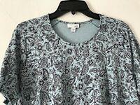 NEW J. Jill XL S/S Shirtdress Knit Shift Dress Pockets Cotton Blue Floral