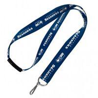 Seattle Seahawks THROWBACK RETRO Deluxe 2-sided Lanyard Breakaway Clip w//J-Hook Keychain Football
