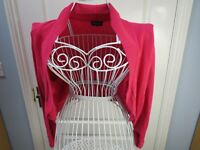 PHASE EIGHT Pink Shrug Bolero Cardigan Size Small Cropped Knit Evening Party