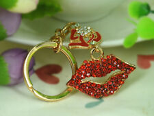 T Sexy Red Lip Keyring Rhinestone Crystal Charm Key Women Bag Chain Pendant Gift