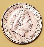 1957 NEDERLAND 1 GULEN JULIANA KONINGIN DER NEDERLANDEN  NETHERLANDS  Silver