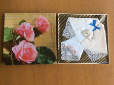 New Vintage Boxed Best Wishes Handkerchiefs, White Cotton, Lace Trim, Embroidery
