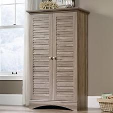 2-Door Storage Cabinet Oak Coastal Accent Furniture Living Room Shelf Organizer