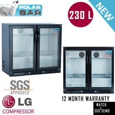 2018 Bar Fridge Beer Double Door 2 Door Display Alfresco Under Bench Black 230L