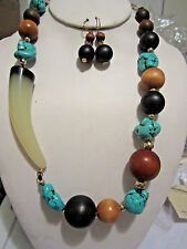 Turquoise Stone And Brown Wood Bead Natural Lucite Side Horn Necklace Earring
