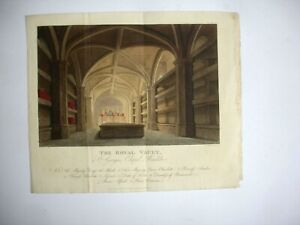 19th century engraving THE ROYAL VAULT St George's Chapel Havell Nash Ackermann