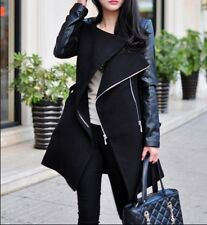 Hot Women Wool Faux leather sleeve Coat Long jacket trench parkas outwear Collar