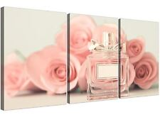 Shabby Chic Pink Cream Rose Perfume Girls Bedroom Floral Canvas Set of 3 - 3285