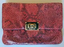 MICHAEL KORS Sloan Chain Clutch Red Python Leather Shoulder Handbag Purse
