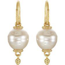 14KT Yellow Gold & Paspaley South Sea Pearl Earrings Ornate Design Shepard Hook
