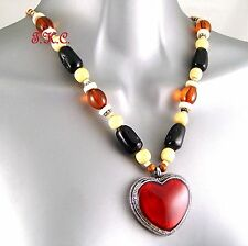 Shabby Chic Kitsch Red Black Wood Cloisonné Country Western Heart, Wag Necklace
