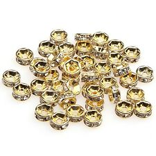 100pcs Shiny Golden Clear Crystal Rhinestone Charms Rondelle Spacer Beads 6mm SO